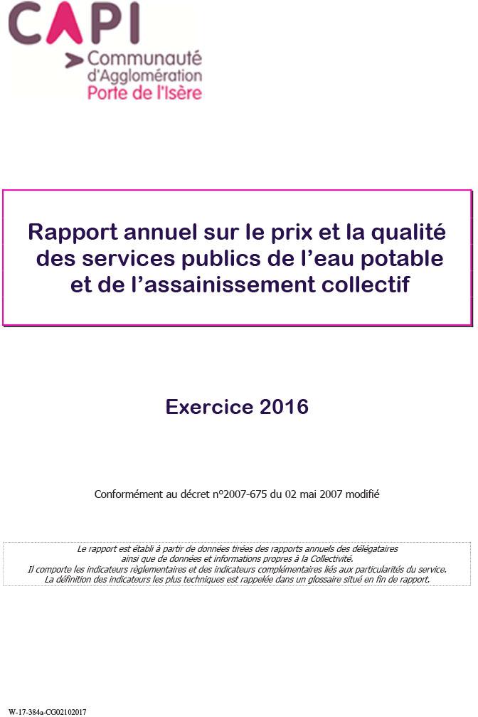 Rapport eau et assainissement CAPI 2016