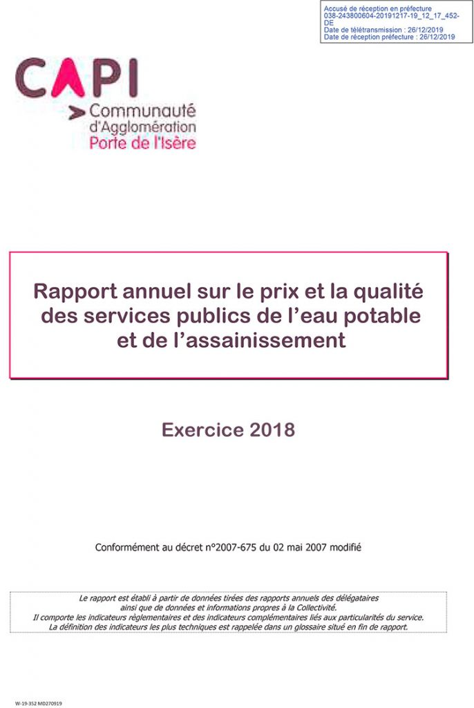 Rapport eau et assainissement CAPI 2018